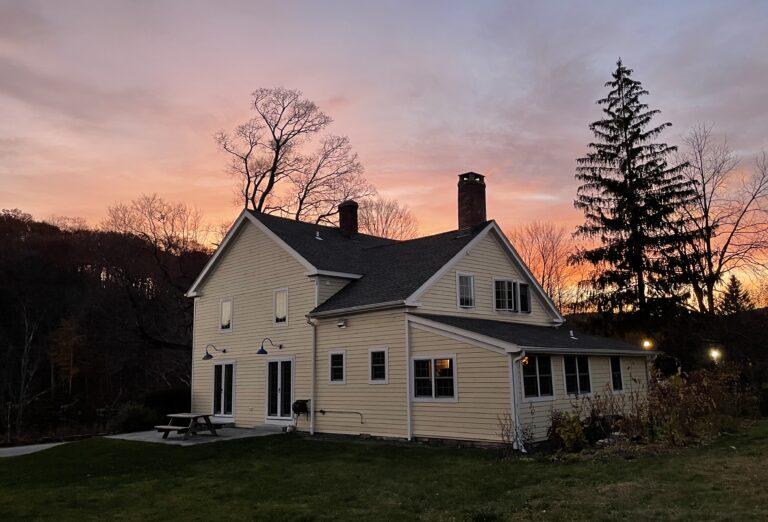 sunset over the inn