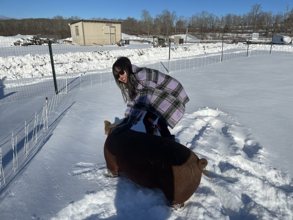 Anh and Meatloaf enjoy the snow!